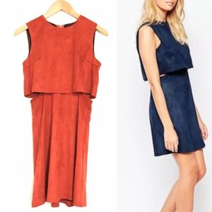 Fashion Union x ASOS Burnt Rust Faux Suede Dress